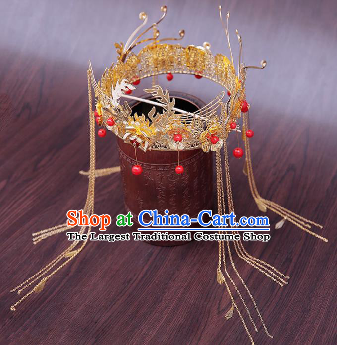 Chinese Ancient Traditional Hanfu Hairpins Handmade Bride Phoenix Coronet Classical Hair Accessories for Women