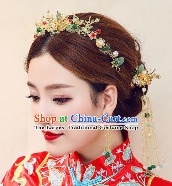 Chinese Ancient Traditional Hanfu Hairpins Handmade Bride Hair Clasp Classical Hair Accessories for Women