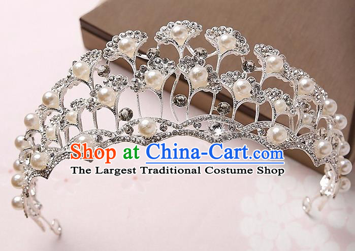 Handmade Baroque Ginkgo Leaf Royal Crown Hair Accessories Princess Hair Clasp for Women