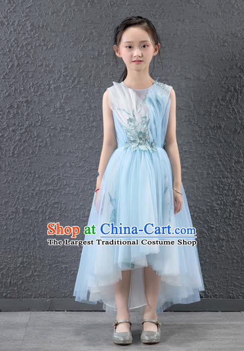 Children Stage Performance Catwalks Costume Ballroom Dance Compere Princess Full Dress for Girls Kids