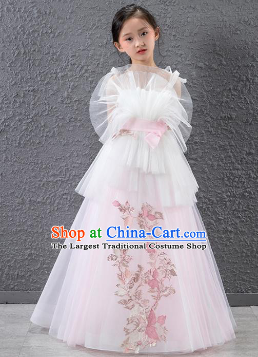 Children Stage Performance Catwalks Costume Compere Princess Pink Veil Full Dress for Girls Kids