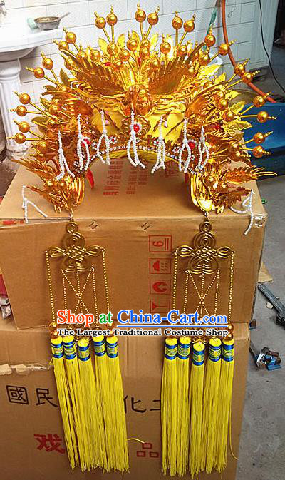 Chinese Traditional Peking Opera Actress Bride Phoenix Coronet Beijing Opera Princess Golden Chaplet Hats for Women