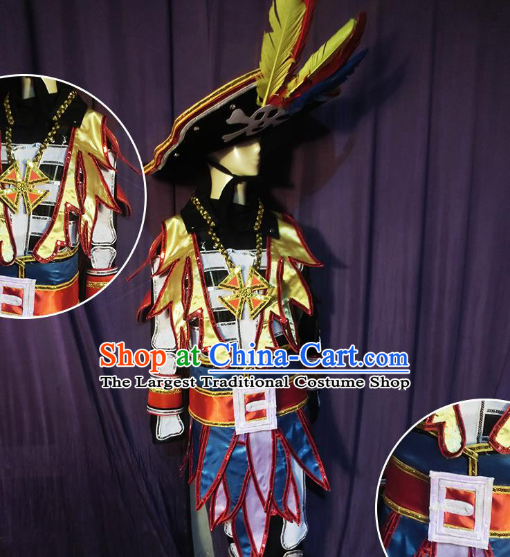 Halloween Cosplay Pirate Stage Show Costumes Brazilian Carnival Parade Clothing and Hat for Men