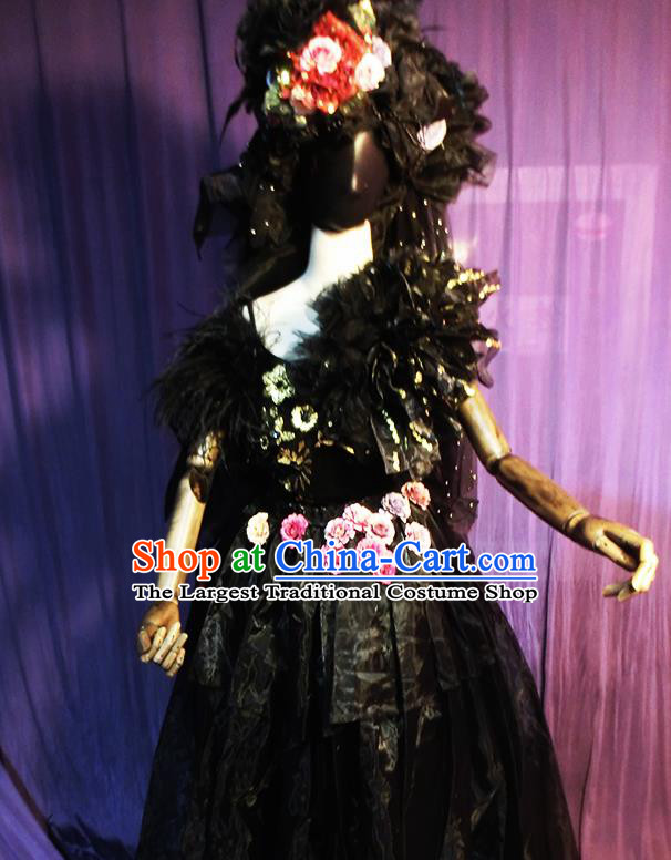 Halloween Cosplay Stage Show Costumes Brazilian Carnival Parade Black Dress for Women