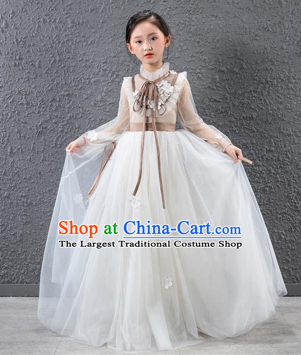 Children Catwalks Stage Performance Costume Compere White Veil Full Dress for Girls Kids