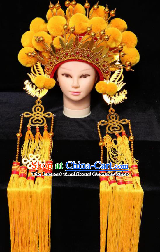 Chinese Traditional Peking Opera Yellow Venonat Phoenix Coronet Beijing Opera Diva Headwear for Women