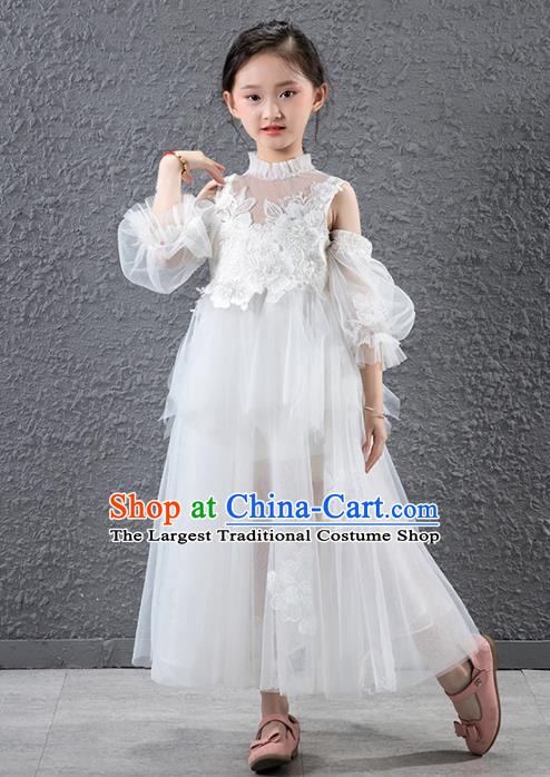 3107839d460 Children Catwalks Flowers Fairy Stage Performance Costume Compere White  Veil Full Dress for Girls Kids