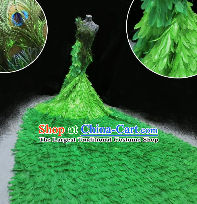 Halloween Stage Show Green Feather Samba Costumes Brazilian Carnival Parade Trailing Dress for Women