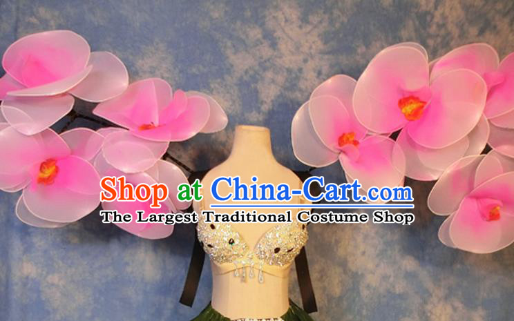 Halloween Cosplay Stage Show Props Accessories Brazilian Carnival Parade Pink Flowers Wings for Women