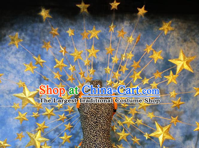 Halloween Cosplay Stage Show Props Accessories Brazilian Carnival Parade Golden Stars Wings for Women