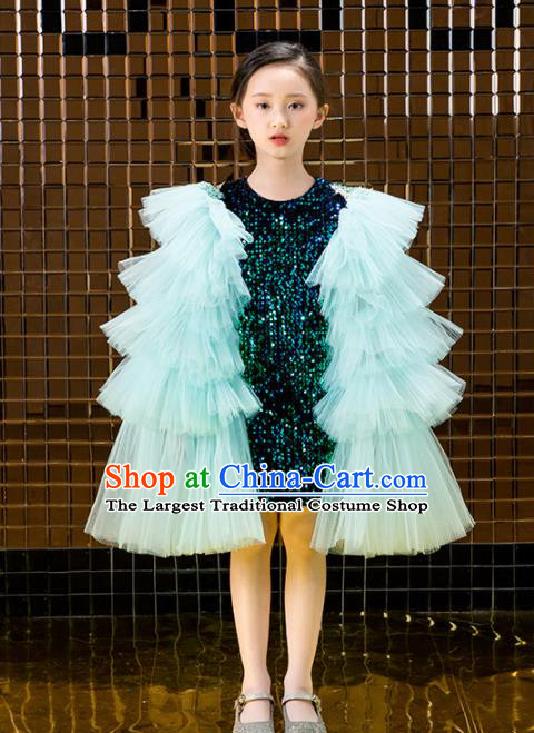 Children Catwalks Costume Stage Performance Compere Green Veil Full Dress for Girls Kids