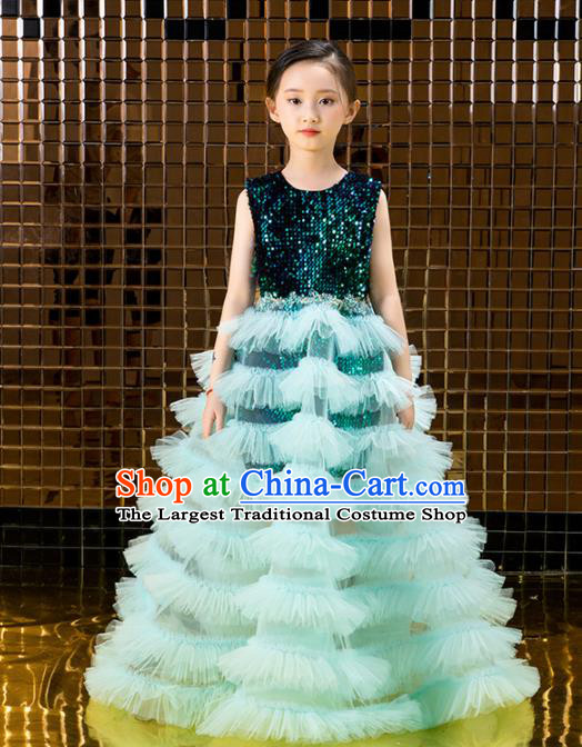 Children Catwalks Costume Stage Performance Compere Green Veil Bubble Full Dress for Girls Kids