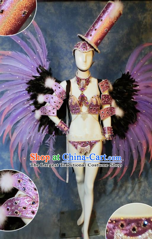 Halloween Cosplay Stage Show Purple Feather Props Catwalks Hair Accessories Brazilian Carnival Parade Samba Wings for Women