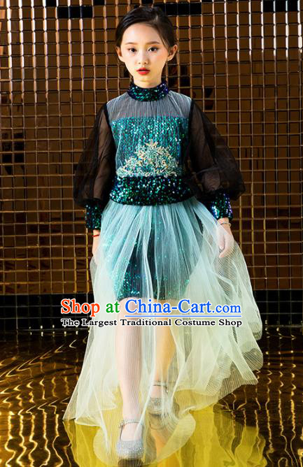 Children Catwalks Costume Stage Performance Compere Modern Dance Full Dress for Girls Kids