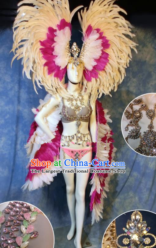 Halloween Catwalks Stage Show Feather Costumes Brazilian Carnival Parade Samba Clothing and Headwear for Women