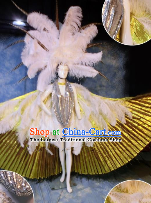 Halloween Catwalks Stage Show Samba Feather Costumes Brazilian Carnival Parade Clothing and Headwear for Women