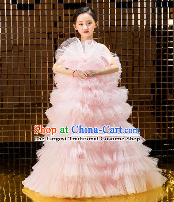 Children Catwalks Princess Costume Stage Performance Compere Modern Dance Pink Veil Full Dress for Girls Kids