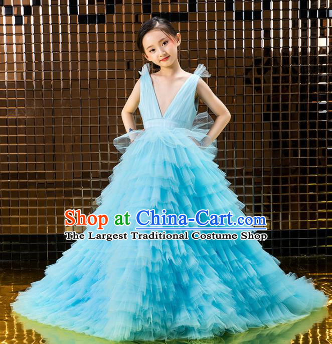 Children Catwalks Princess Costume Stage Performance Compere Modern Dance Blue Veil Full Dress for Girls Kids