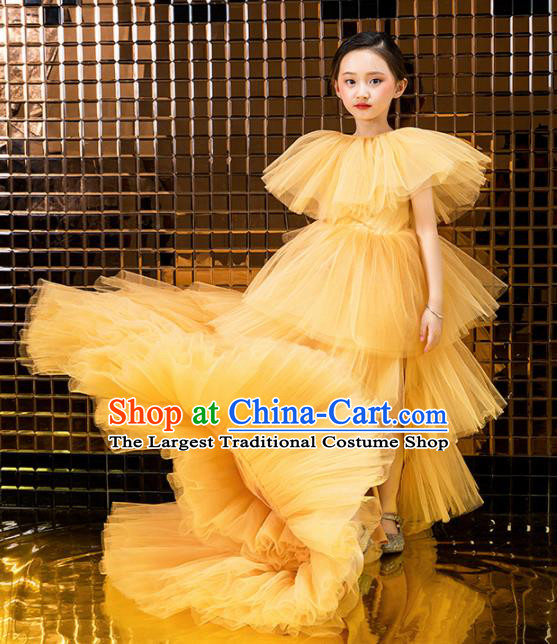 Children Catwalks Princess Costume Stage Performance Compere Modern Dance Full Dress for Girls Kids