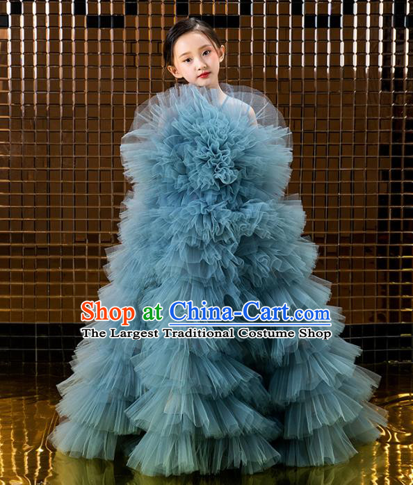 Children Catwalks Princess Costume Compere Modern Dance Blue Veil Full Dress for Girls Kids