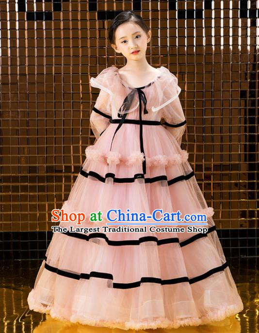 Children Catwalks Princess Costume Compere Modern Dance Pink Veil Full Dress for Girls Kids