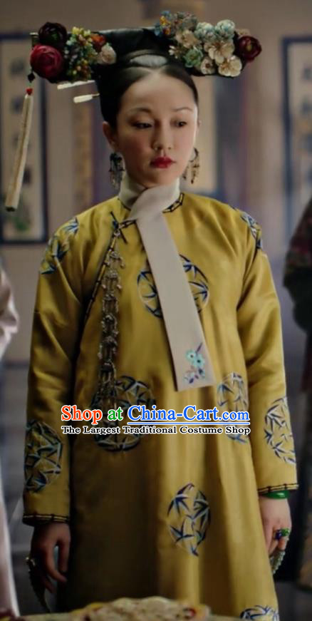 Drama Ruyi Royal Love in the Palace Chinese Ancient Qing Dynasty Empress Embroidered Costumes and Headpiece for Women