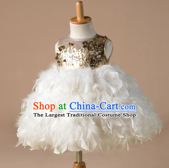 Children Catwalks Costume Girls Compere Modern Dance Princess Feather Bubble Full Dress for Kids