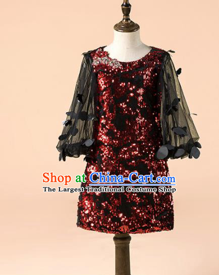 Children Catwalks Costume Girls Compere Modern Dance Wine Red Sequins Full Dress for Kids