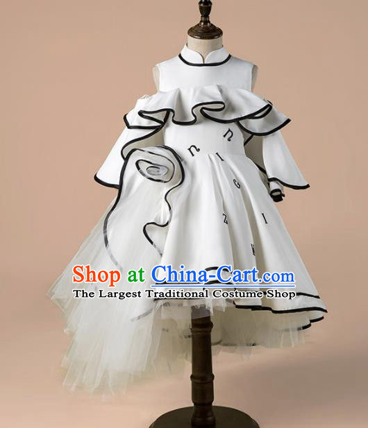 Children Catwalks Costume Girls Compere Modern Dance White Bubble Full Dress for Kids