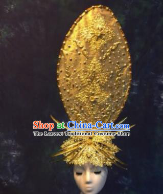 Halloween Cosplay Deluxe Palace Golden Hair Accessories Chinese Traditional Catwalks Hat Headwear for Women