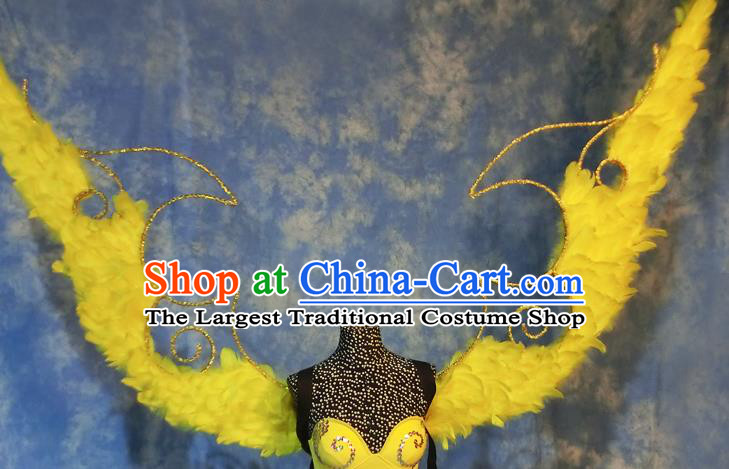 Halloween Cosplay Stage Show Props Catwalks Brazilian Carnival Parade Yellow Feather Wings for Women