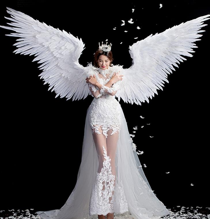 Brazilian Carnival Parade Halloween Clothing Catwalks Stage Show White Feather Dress and Wings for Women