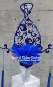 Halloween Cosplay Deluxe Palace Blue Veil Vase Hair Accessories Chinese Catwalks Hat Headwear for Women