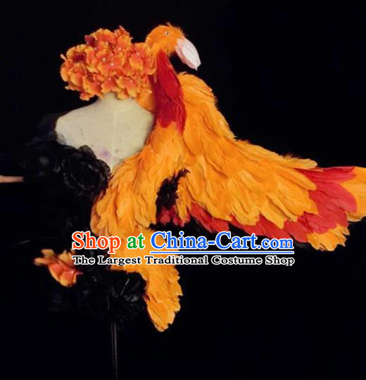 Brazilian Carnival Parade Costumes Halloween Catwalks Bird Feather Clothing and Headwear for Women