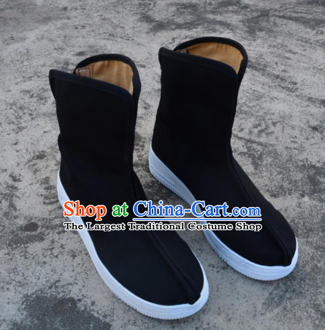 Chinese Traditional Black Boots Ancient Swordsman Shoes Cloth Shoes for Men