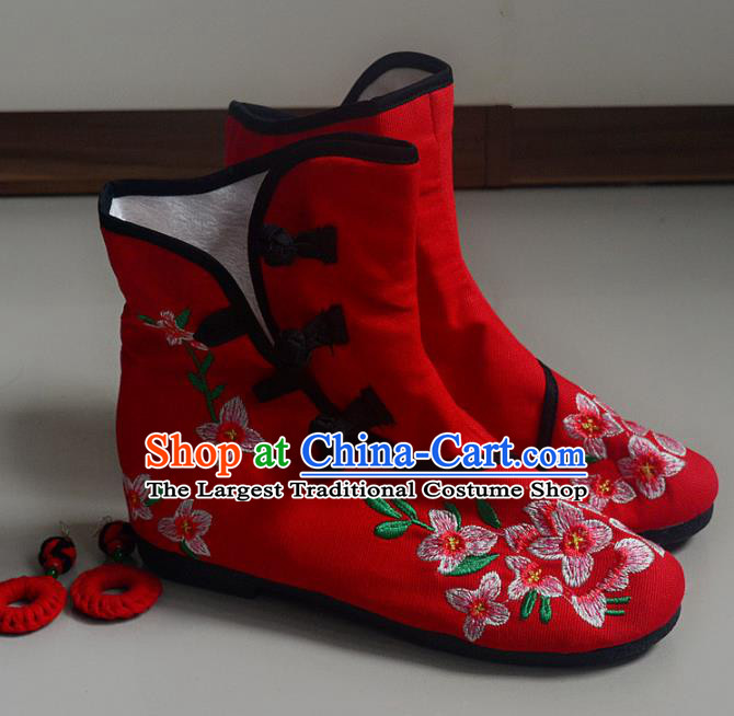 Chinese Traditional Hanfu Boots Ancient Shoes Embroidered Red Shoes for Women