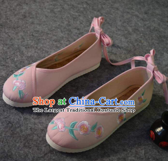 Chinese Traditional Hanfu Shoes Ancient Princess Shoes Pink Embroidered Shoes for Women
