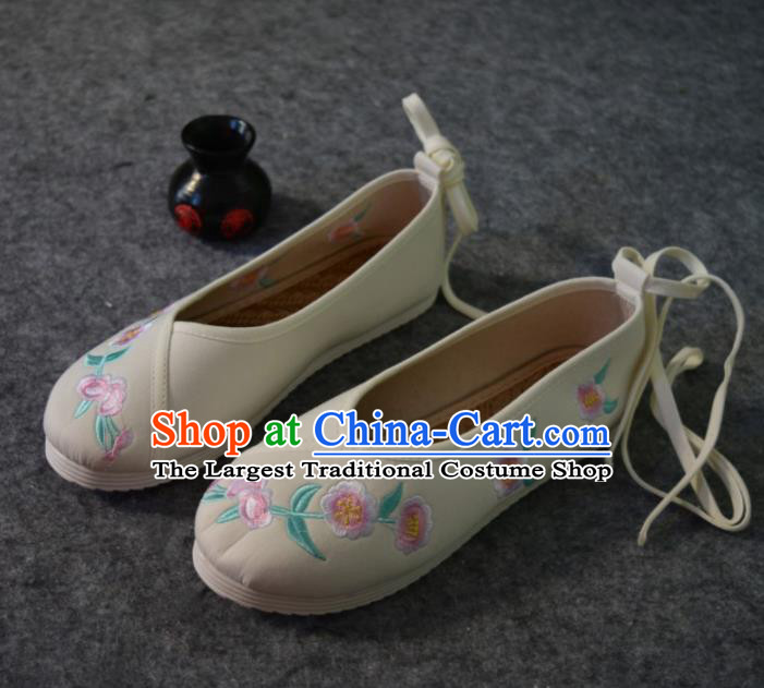 Chinese Traditional Hanfu Shoes Ancient Princess Shoes Beige Embroidered Shoes for Women