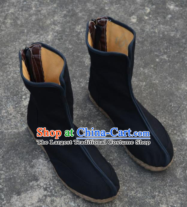 Chinese Traditional Winter Boots Ancient Swordsman Shoes Embroidered Shoes for Men