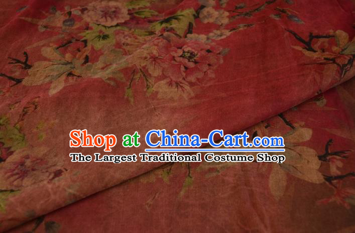 Asian Chinese Traditional Peony Pattern Silk Design Brocade Fabric Chinese Gambiered Guangdong Gauze Material