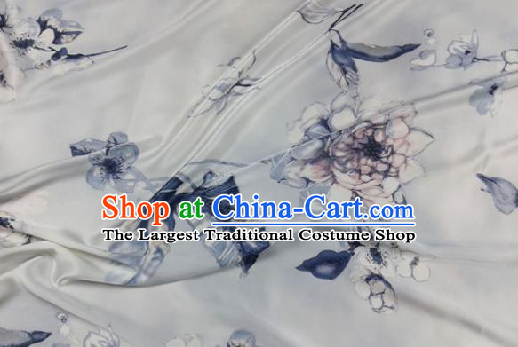 Asian Chinese Traditional Pattern Design Blue Brocade Fabric Silk Fabric Chinese Material