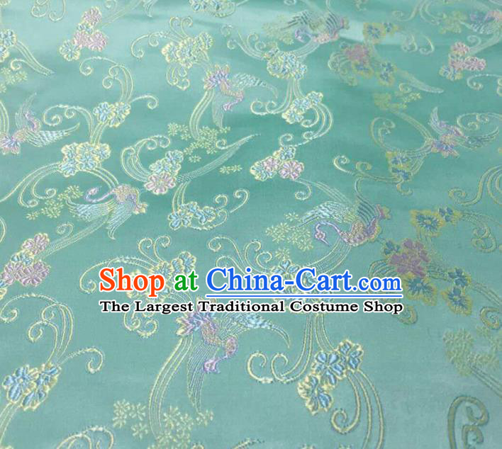Asian Chinese Traditional Pattern Design Green Brocade Silk Fabric Chinese Material