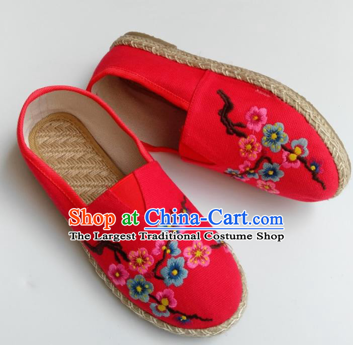 Chinese Traditional Hanfu Shoes Ancient Princess Shoes Embroidered Red Linen Shoes for Women
