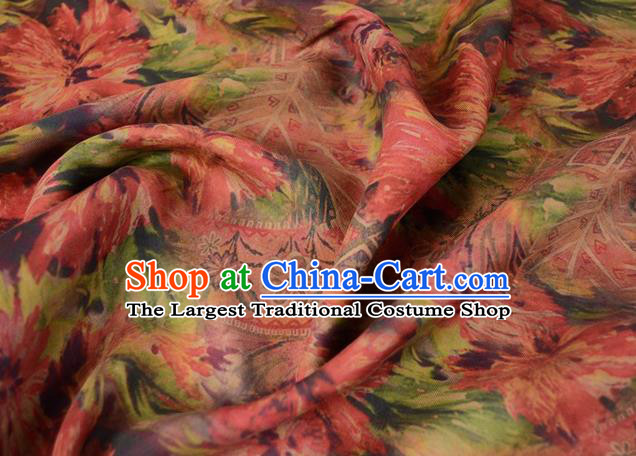 Asian Gambiered Guangdong Gauze Material Chinese Traditional Flowers Pattern Silk Design Brocade Fabric