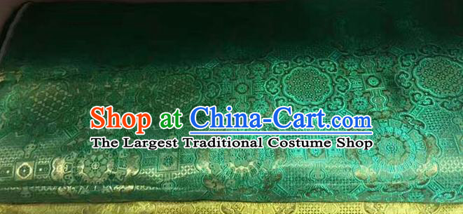 Asian Chinese Tang Suit Material Traditional Pattern Design Green Brocade Silk Fabric