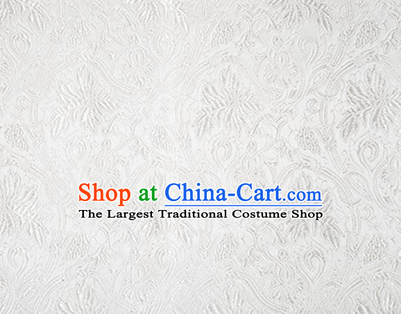 Asian Chinese Tang Suit Satin Material Traditional Grape Pattern Design White Brocade Silk Fabric