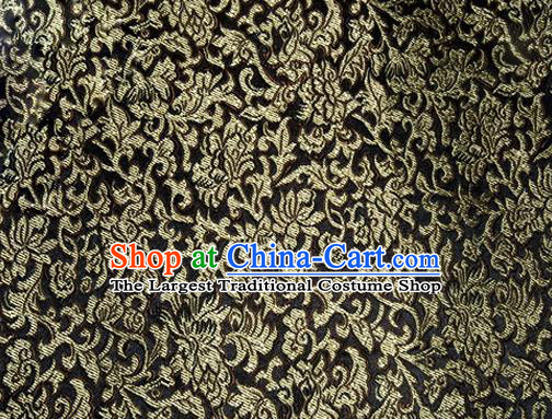 Asian Chinese Tang Suit Satin Material Traditional Pattern Design Black Brocade Silk Fabric