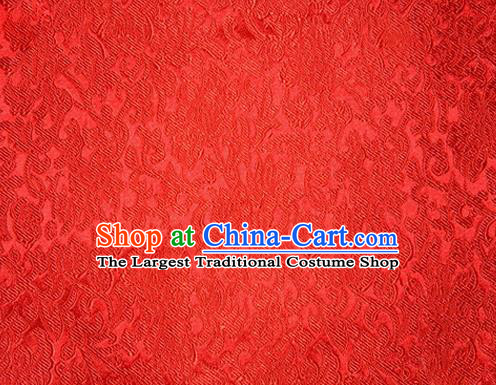 Asian Chinese Tang Suit Red Satin Material Traditional Pattern Design Brocade Silk Fabric