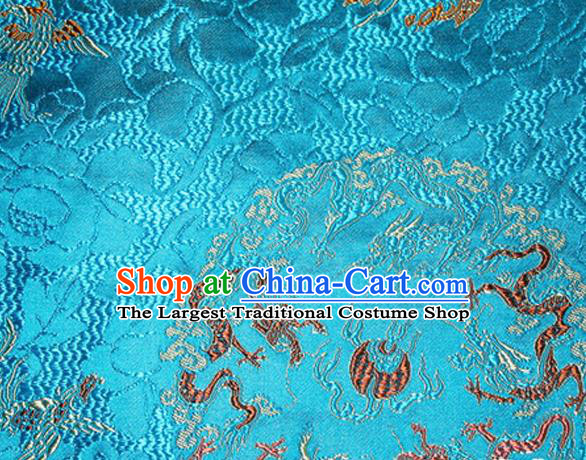 Asian Chinese Tang Suit Satin Material Traditional Dragons Pattern Design Blue Brocade Silk Fabric