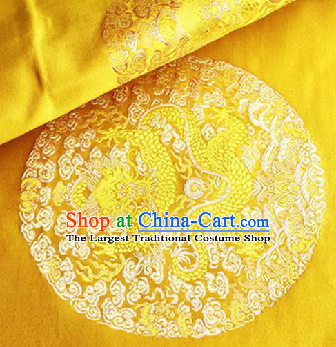 Asian Chinese Tang Suit Satin Material Traditional Dragons Pattern Design Golden Brocade Silk Fabric